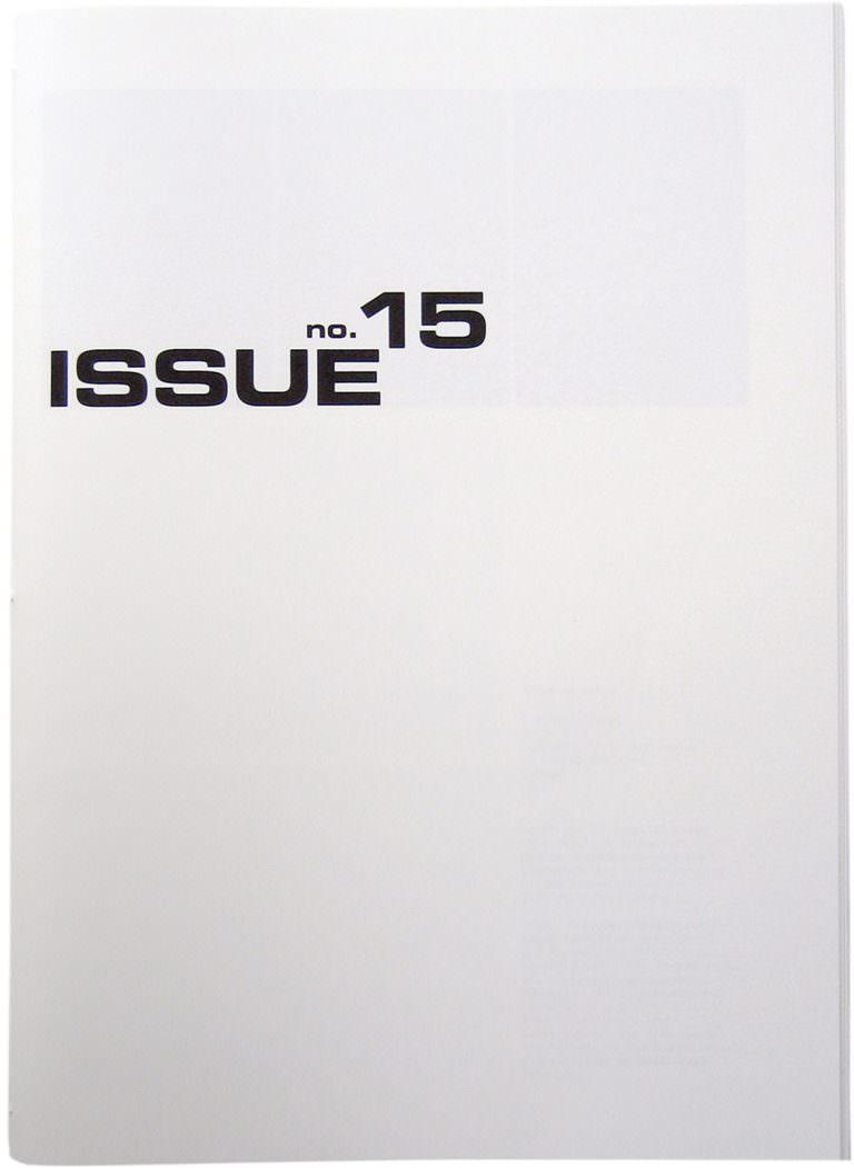 Titelseite ISSUE no 15, Sigrid Kurz